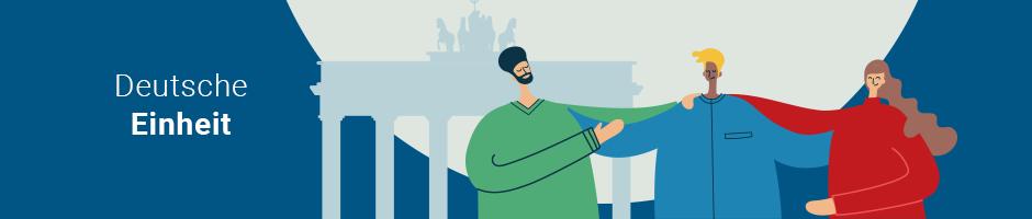 Illustration: Drei Personen stehen vor dem Branderburger Tor und halten sich zusammen.